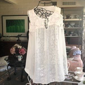 Lauren Conrad Sheer White Floral Blouse